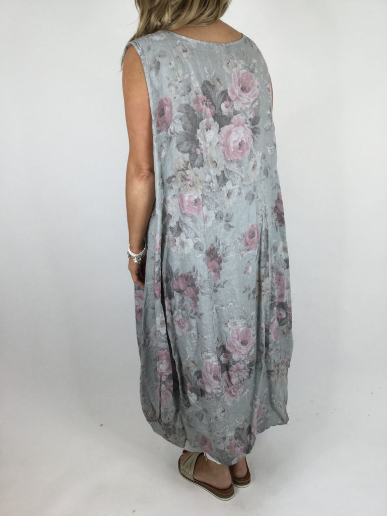 Lagenlook Emily Square neck linen Flower Print Dress in Pale grey. code 5097