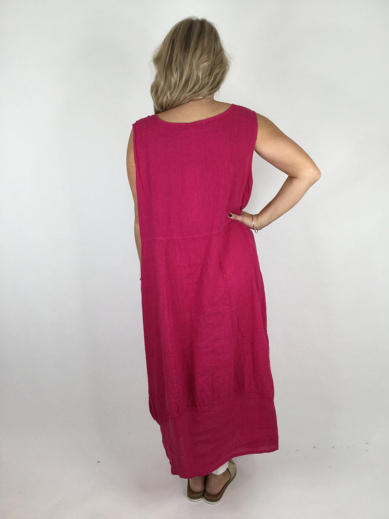 Lagenlook Square neck Linen Tunic Dress Top in Cerise Pink. code 4353