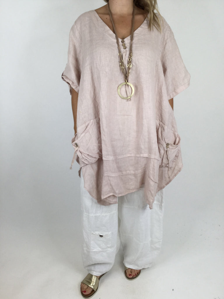 Lagenlook 3 button Linen Top in Pale pink . code 5182