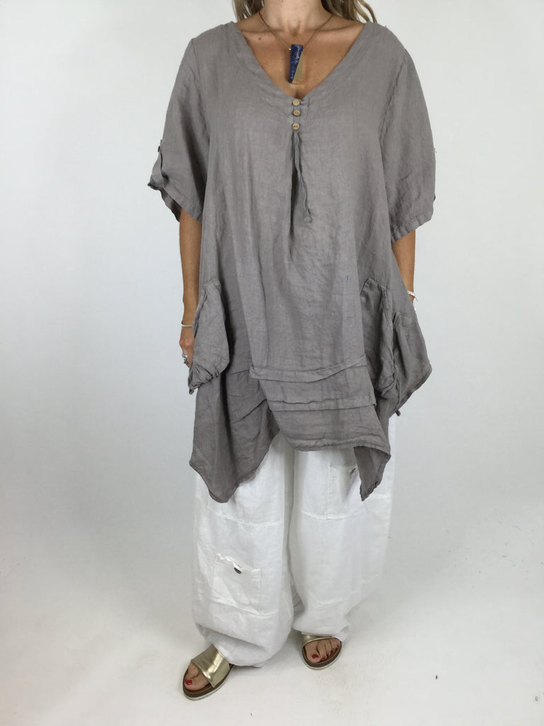 Lagenlook 3 button Linen Top in Mocha. code 5182