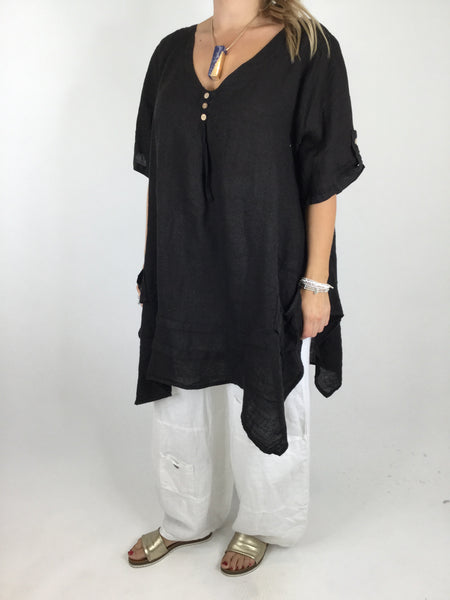 Lagenlook 3 button Linen Top in Black. code 5788