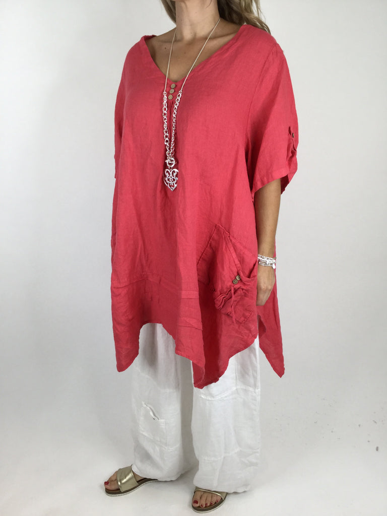 Lagenlook 3 button Linen Top in Coral. code 5182