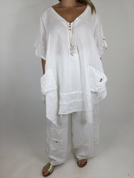 Lagenlook 3 button Linen Top in White. code 5788