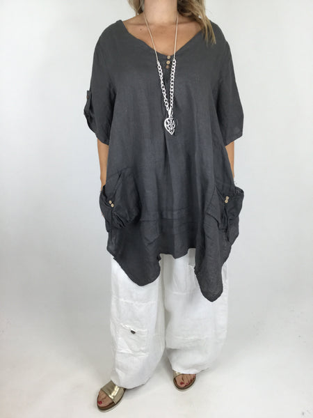 Lagenlook 3 button Linen Top in Charcoal. code 5788