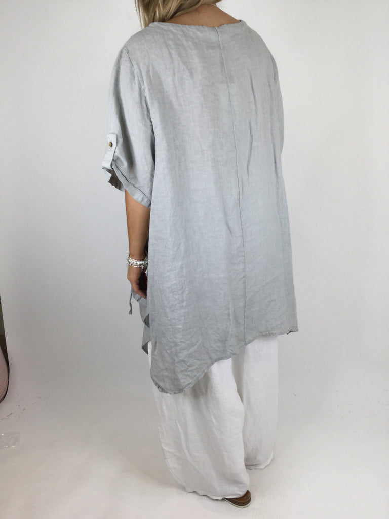 Lagenlook 3 button Linen Top in Light Grey. code 5182