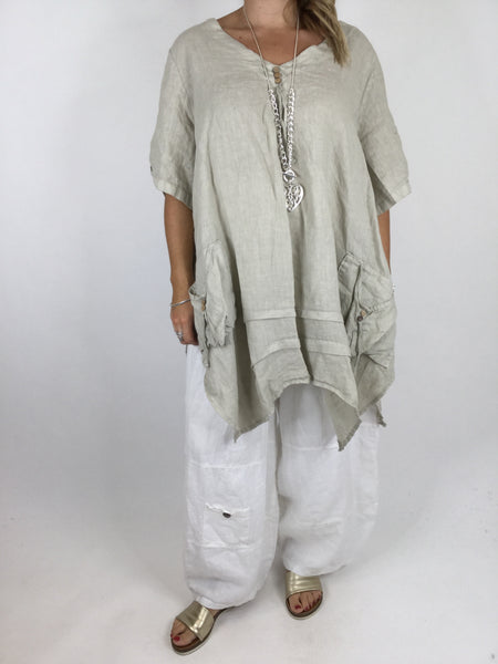 Lagenlook 3 button Linen Top in Beige. code 5788