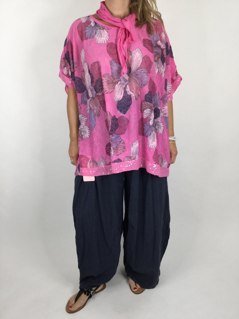 Lagenlook Flower Printed Scarf Top Tunic in Bubblegum Pink. Code 4595