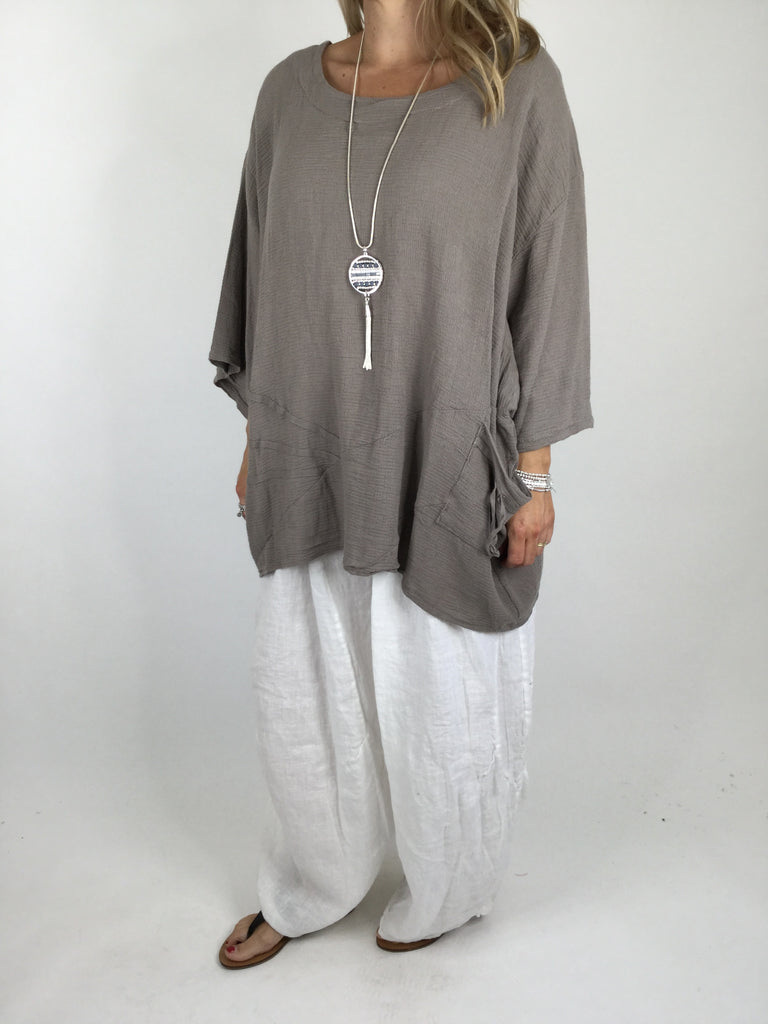 Lagenlook Linen Seam Detail Top in Mocha.code 4538