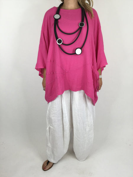 Lagenlook Linen Seam Detail Top in Fuchsia Pink. code 4538