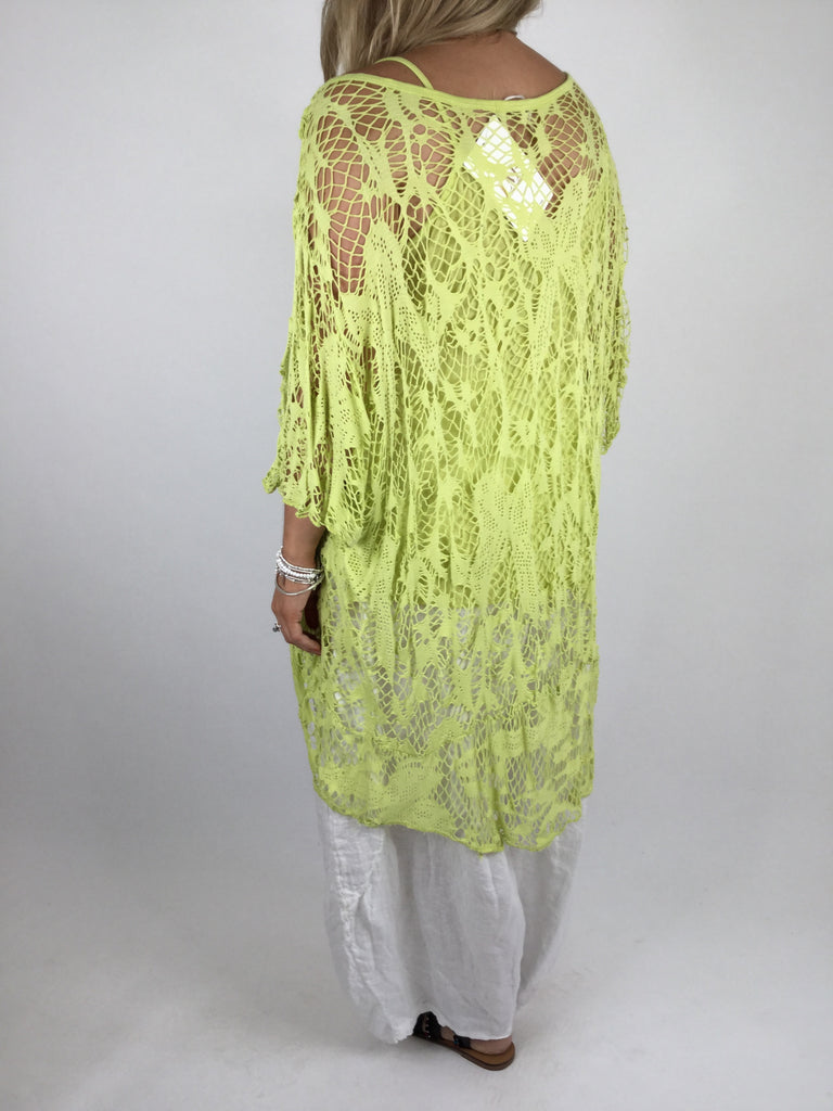 Lagenlook Short Sleeve Net Tunic in Lime . code ws743