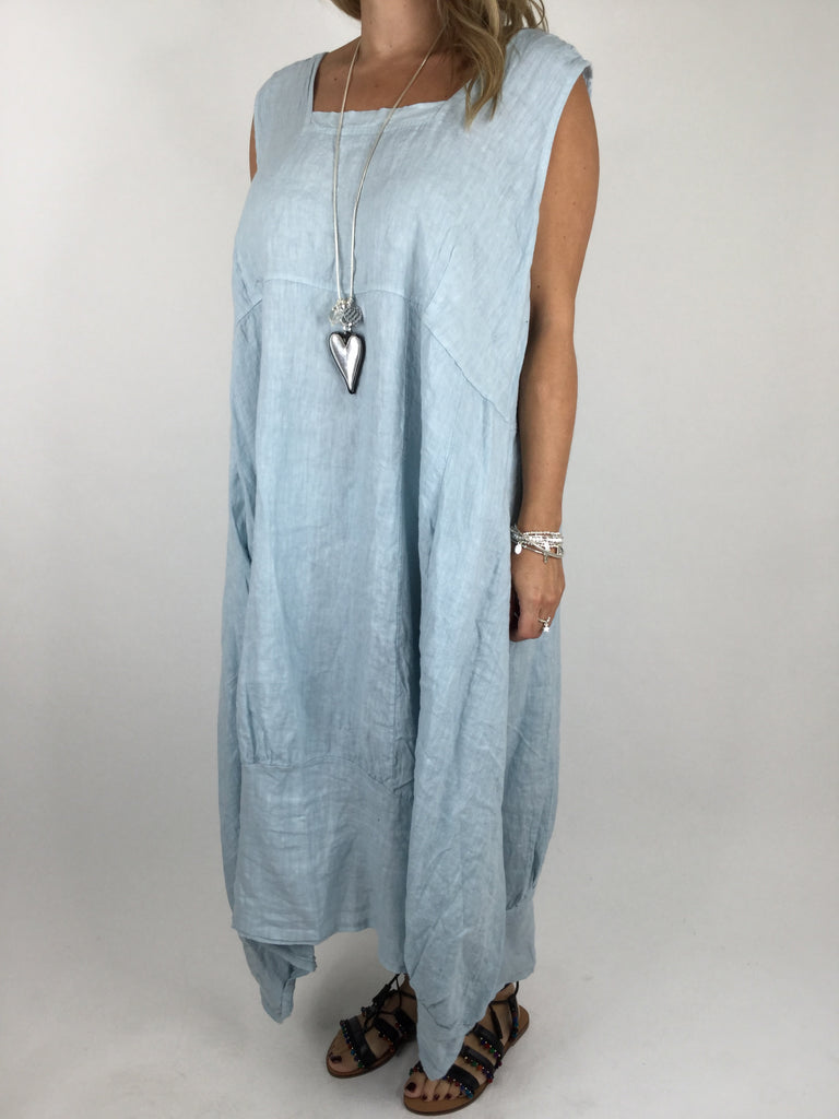 Lagenlook Square neck Linen Tunic Dress Top in Sky Blue. code 5026