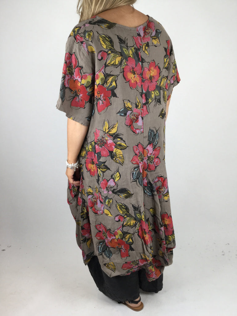 Lagenlook KiKi Summer flower Shaped tunic in Mocha. code WS8812