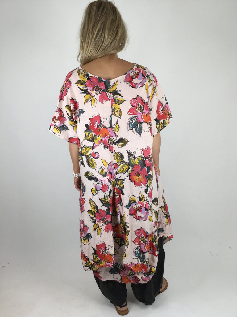 Lagenlook KiKi Summer flower Shaped tunic in Pale Pink. code WS8812