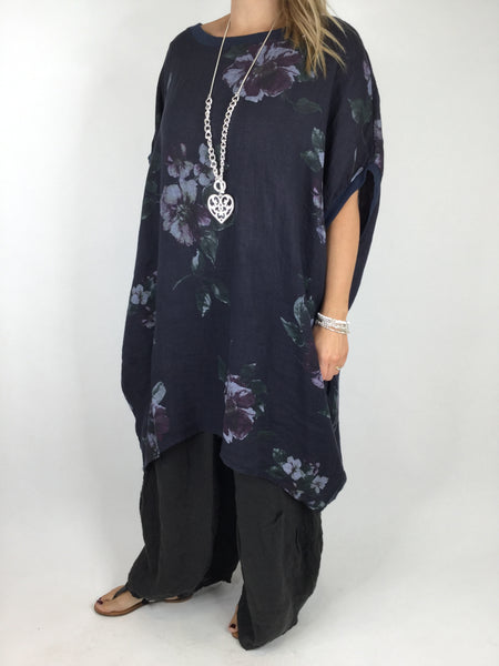 Lagenlook Nikki Summer Flower Tunic in Navy. code 9618