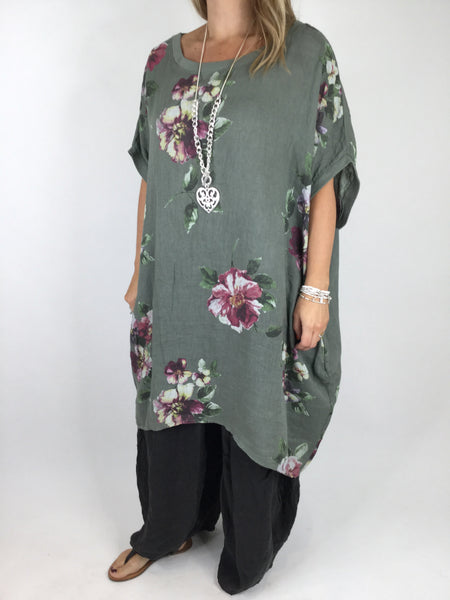 Lagenlook Nikki Summer Flower Tunic in Khaki Green. code 5682