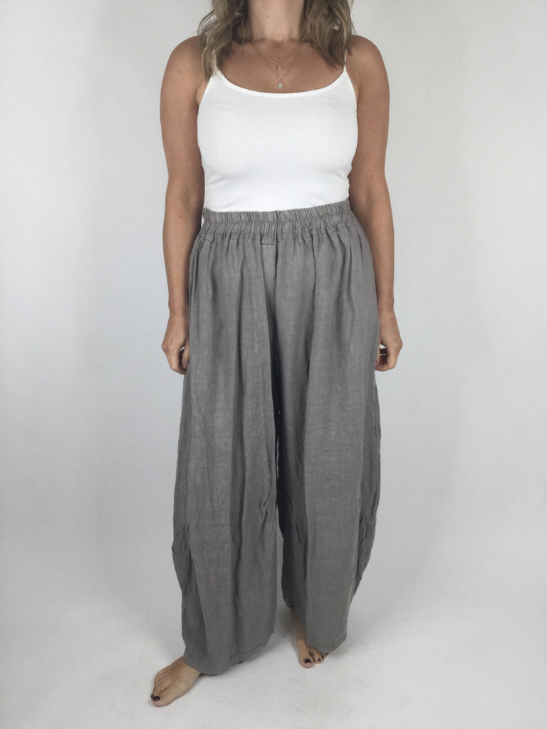 Lagenlook Penny wide Leg Linen Trousers in Mocha. code 9030