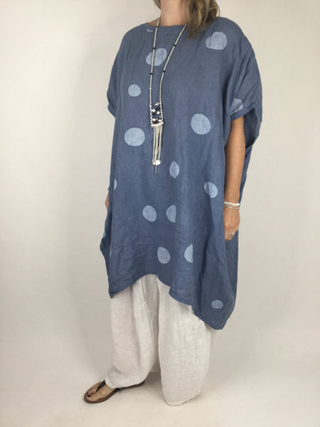 Lagenlook Dot Linen tunic in Denim Blue. code WSD9015