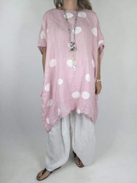 Lagenlook Dot Linen tunic in Pale Pink. code WSD9015