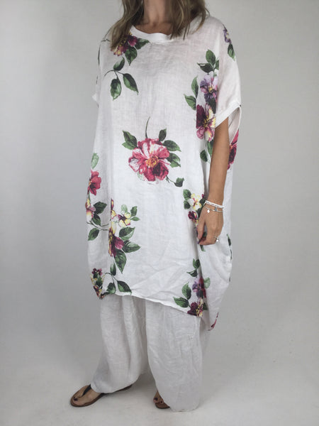 Lagenlook Nikki Summer Flower Tunic in White . code 5682