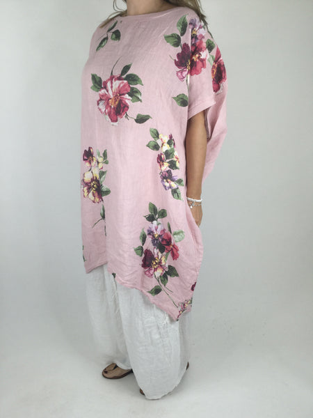 Lagenlook Nikki Summer Flower Tunic in Pale Pink. code 9618
