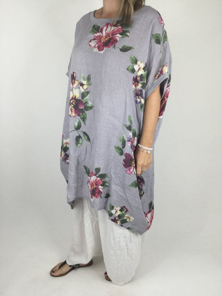 Lagenlook Nikki Summer Flower Tunic in Pale Grey. code 9618