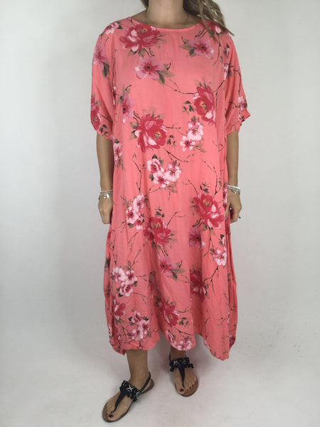 Lagenlook Zelly Flower Summer tunic in Coral. code WS1397