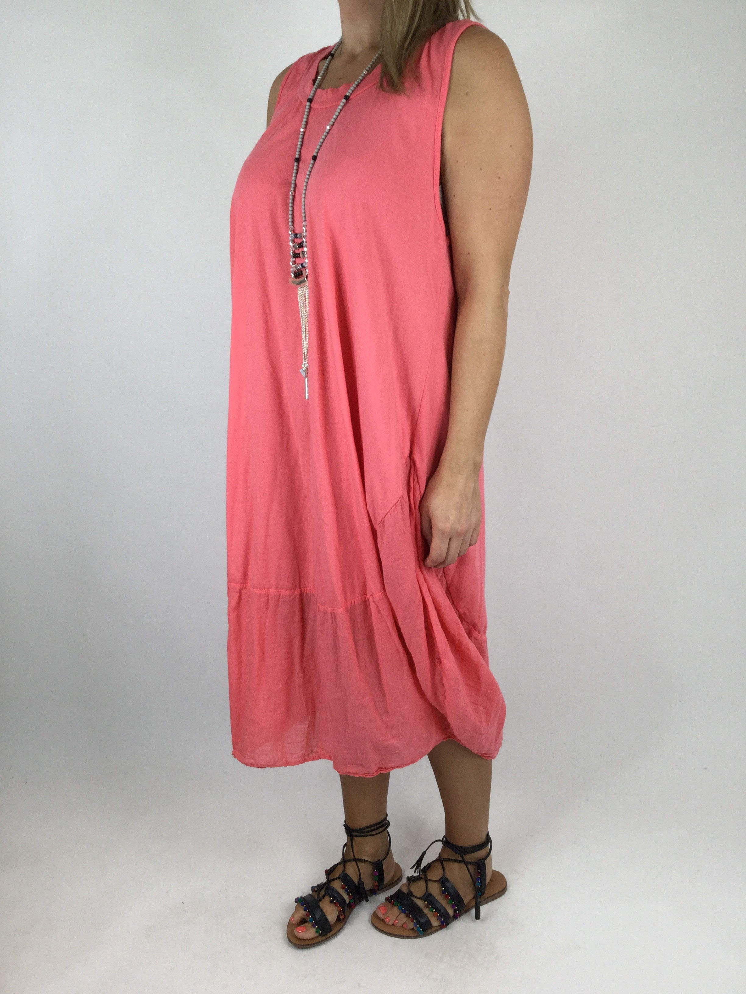 Lagenlook Jersey Cocoon Dress Tunic In Coral Code 4320 -1959