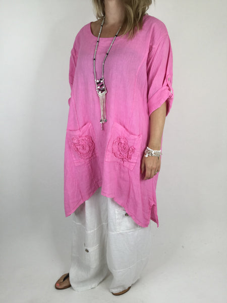 Lagenlook Flower pocket Linen in Fuchsia Pink. code 4460