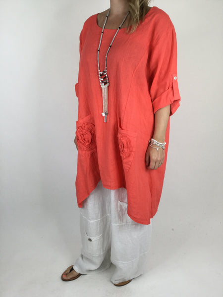 Lagenlook Flower pocket Linen in Coral. code 4460