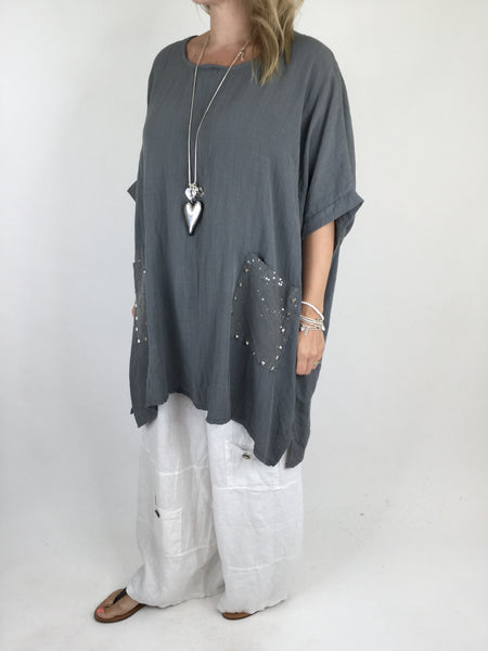 Lagenlook Stud Pocket Summer Cotton Top in Charcoal Grey . code 5898