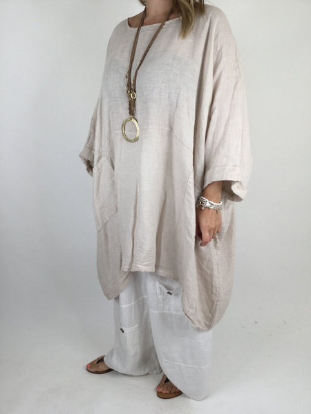 Lagenlook Linen Plain Poncho Top in Cream. code 5699
