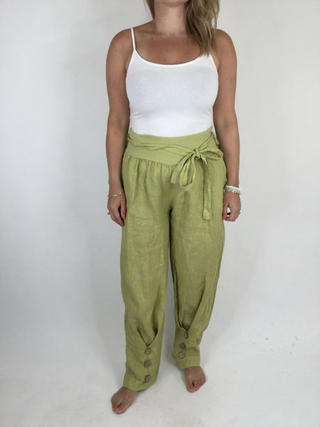 Lagenlook Ankle Button Linen Trousers in Lime. code 4493