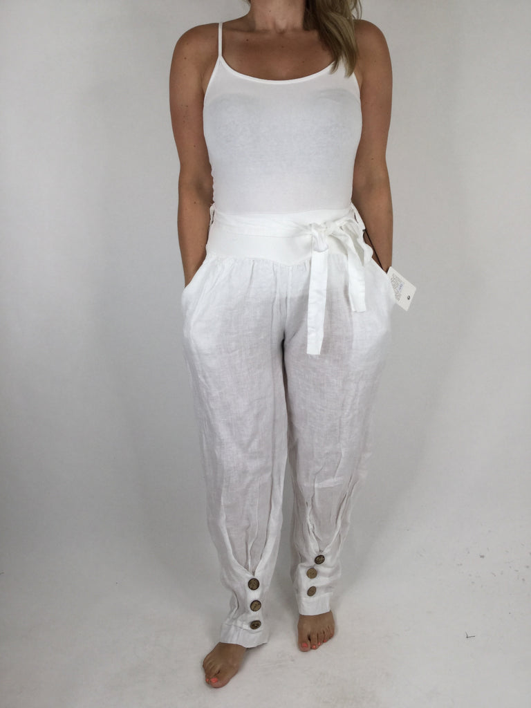 Lagenlook Ankle Button Linen Trousers in White. code 4493