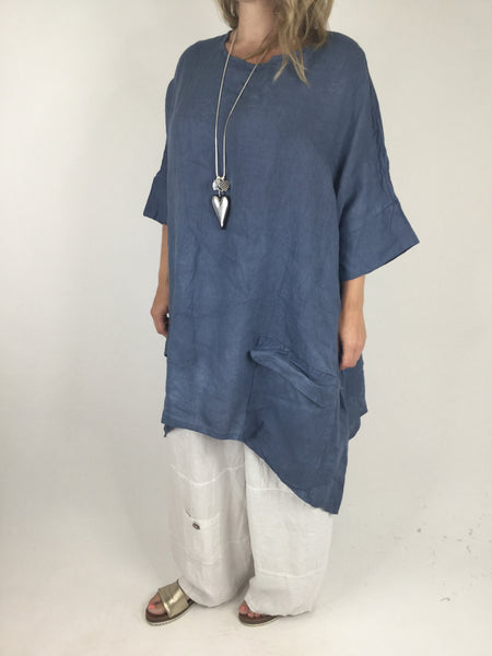 Lagenlook Linen Pocket Poncho in Denim Blue. code WS2733