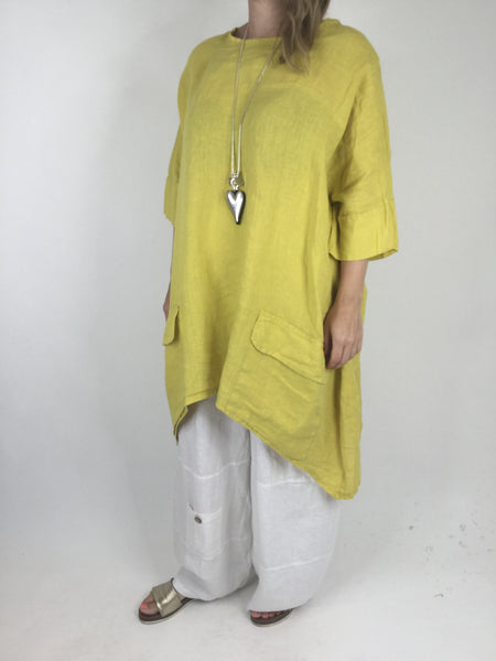 Lagenlook Linen Pocket Poncho in Yellow. code WS2733