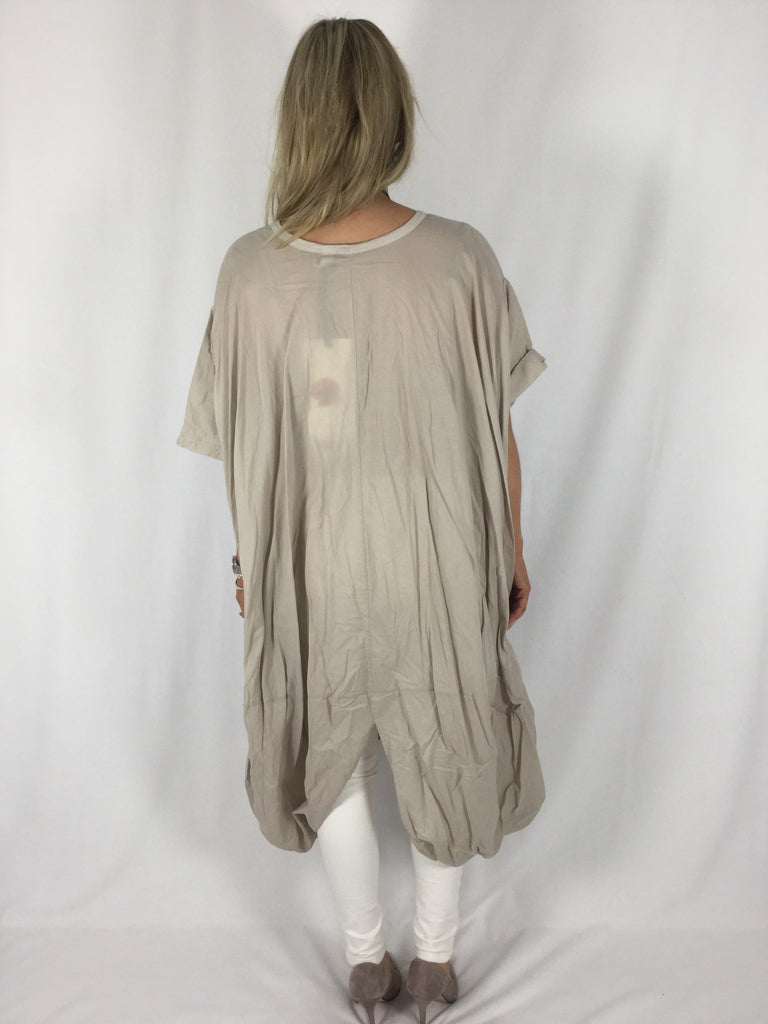 Lagenlook Wendy Trendy Twist Tunic in Beige. code 3603