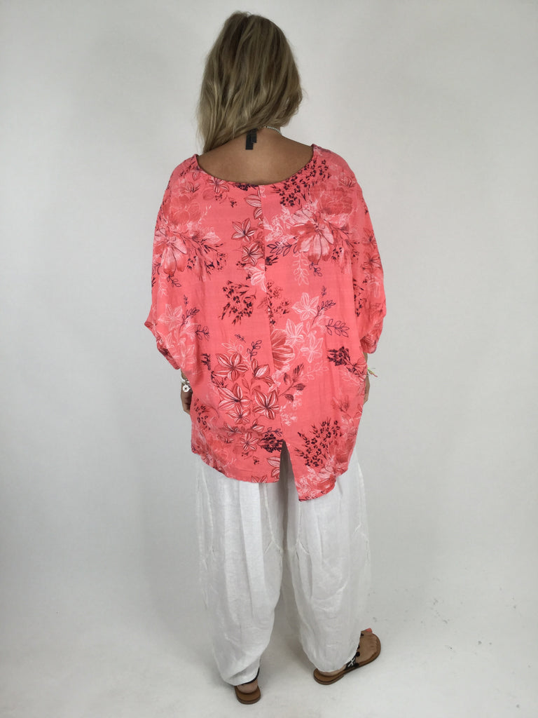 Lagenlook Delicate Flower Linen Blend Top in Coral. code WS9209