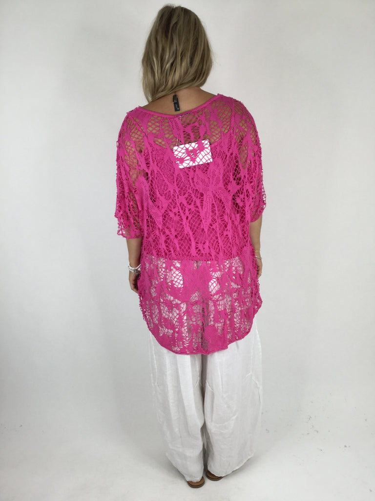 Lagenlook Short Sleeve Net Tunic in Fuchsia Pink. code ws743
