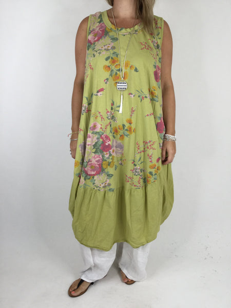 Lagenlook Cotton Flower Pattern Cocoon Dress Tunic in Lime.code 911