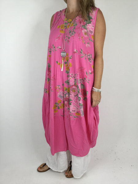 Lagenlook Cotton Flower Pattern Cocoon Dress Tunic in Tropical Pink .code 911