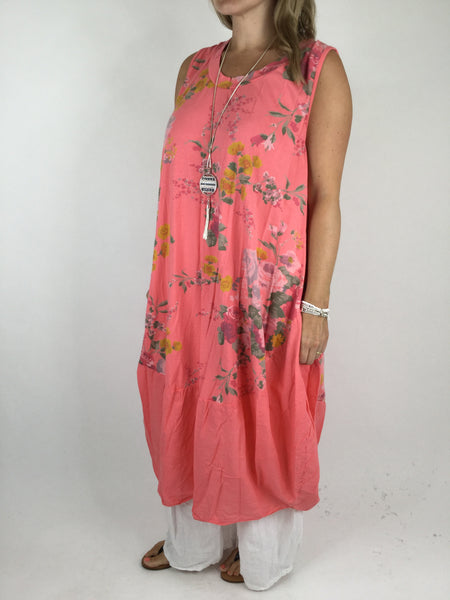 Lagenlook Cotton Flower Pattern Cocoon Dress Tunic in Coral .code 911