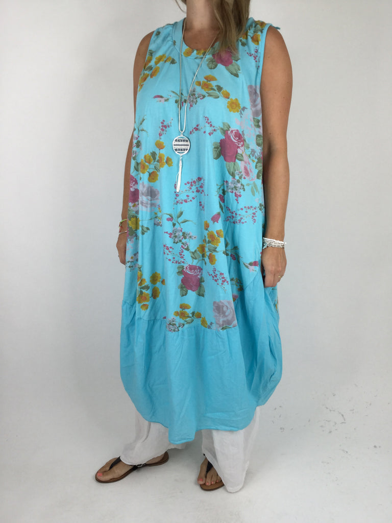 Lagenlook Cotton Flower Pattern Cocoon Dress Tunic in Aqua .code 911