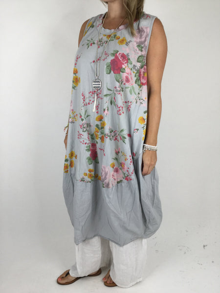 Lagenlook Cotton Flower Pattern Cocoon Dress Tunic in Dove Grey .code 911
