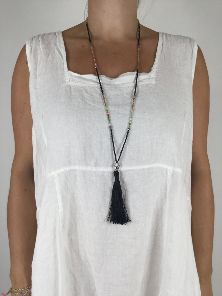 Lagenlook Boho Black Tassel Necklace .Code R023