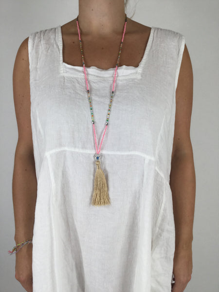 Lagenlook Boho Pink Tassel Necklace .Code R022
