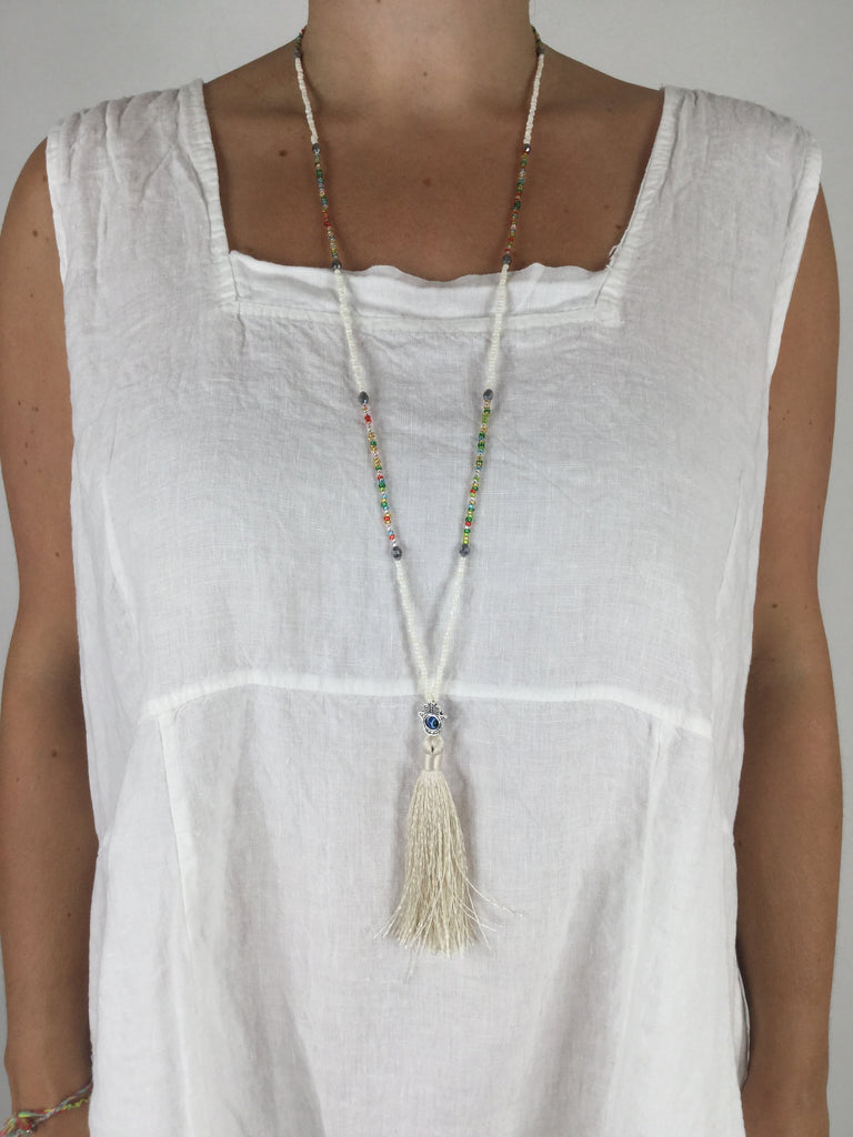 Lagenlook Boho White Tassel Necklace .Code R021