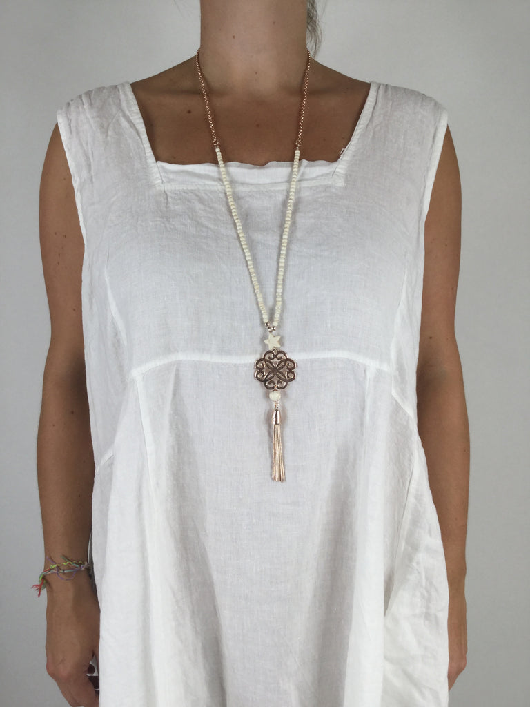 Lagenlook Boho Cream Tassel Rose Gold Necklace .Code R032