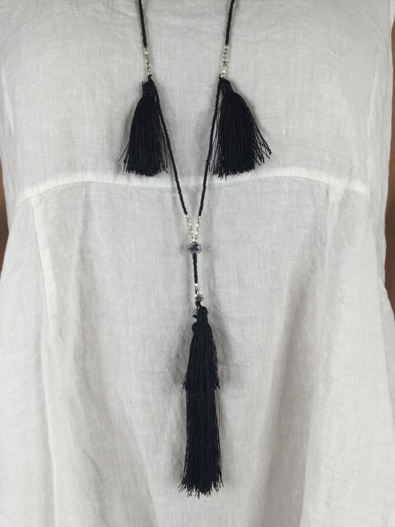 Lagenlook Boho Multi Tassel Necklace in Black.  Code R019