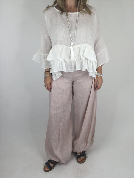 Lagenlook Ruffle Linen Tunic Layering Short Top in Pale Pink.code 4636