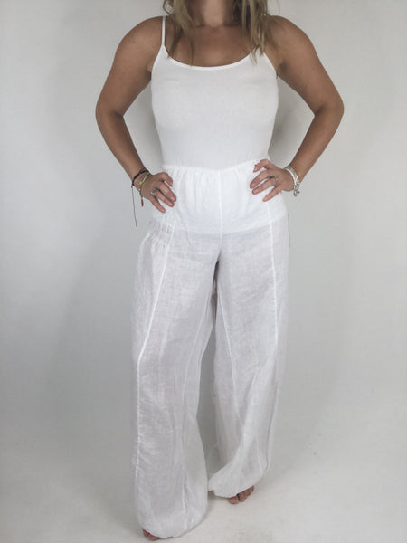 Lagenlook Gina Wide leg Linen Trousers in White. code 4463